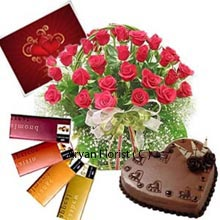 productA Valentine greeting card is oldest yet the best way to send the message of love. Along with card the product brings the basket of 30 elegant red roses with seasonal fillers, different chocolates and heart shaped cake. The delicious heart shape cake weights 1 kg (2.2 Lbs) and is offered stylishly. Tempting cake adds the magic with the basket of lovely roses. Those are crazy bonbon lovers this pack would be perfect for them as it presents you with 4 different types of Cadbury's temptation chocolates. The combo is designed perfectly with love and spreads the miracle of love everywhere.