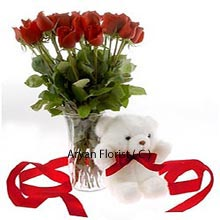 productThis delightful combo comprises of beautiful red roses in a crystal clear vase along with the small teddy bear. Stunning fresh red roses are a pleasure to eyes and its fragrances creates magic along with a small teddy tied with the beautiful ribbon can be the most adorable gift for any occasion. The combo gift is well worth the value which is sure to make your senses full, and your partner to skip a heart beat soon after receiving this present.