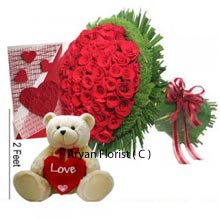 productThis Valentine day express your love with the beautiful greeting card and a bunch of 100 Red Roses. Stunning Red Roses are knotted elegantly giving the mesmerizing experience for senses and creating the unbreakable bond of love and care. The gift has adorable 2 Feet tall Teddy Bear with soft fur and so adorable. Teddy bear is in off white colour with black eyes and black nose and carries the red heart which sure gives the magical love touch.
