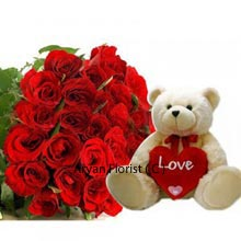 productThis duo set is a much waited for special days like birthdays, Valentine's Day and lot many. Celebration has no day basically, so whatever be it gift your lady love a Bunch of 24 intense Red Roses and a 2 Feet Tall Teddy Bear. Teddy bears are that one best friend of girls that none can replace. They enjoy embracing it as their closest pal anytime. A good choice is ready for you to ship.