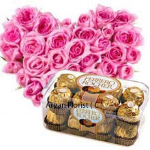 productReplete with love? Then show it off with this amazing heart shaped bouquet that is made from 50 pink roses. If you have attained a centum in love, this colossal pink bouquet is tailor made just for you. This amazingly fragrant delicate heart shaped flowers come with a box of 16 pieces of Ferrero Rocher that will give you a chance to celebrate with these nutty sweets. Your vivacity will be overpowered with this lovely creation, made for love!