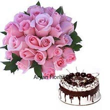 productA set of 24 Pink Roses in a Bunch with 1/2Kg (1.1 Lbs) Black Forest Cake makes a cute and handy present for your dear ones to celebrate their special days. The soothing baby pink color of the roses, the delightful taste of the cake will suffice to please your partner. Those who want to make their precious moments golden; this would be a perfect option for them. The wait is over now to share tons of happiness.