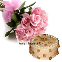 productAn elegant eye soothing Bunch of 12 Pink Roses clubbed with 1Kg (2.2 Lbs) Butter Scotch Cake makes an auspicious combination waiting to be embraced by you. You may send this to both your personal and professional ties for them to celebrate their precious events. When you are a part of their circle, let your present rule out their minds. Boost your intimate bond with those special ties and reminisce the memories down the lane.