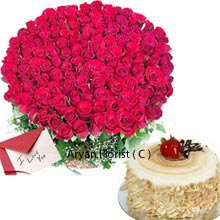productA Valentine's Greeting Card is the primeval way to express the words and feelings. A Greeting Card is kept forever as the sweetest memory. The Card is accompanied with the beautiful bunch of 100 Red Roses knotted stylishly to give the awesome beauty. That's just not all; the combo gift also includes � Kg (1.1 Lbs)Butter Scotch Cake. The Cake is really tempting and comes in the round shape. Express your love this Valentine in an ancient way with Roses, Cake and Greeting Card and have the mesmerizing experience.