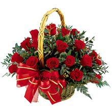 Red Roses in a basket adorned with lovely hues of Red Ribbon , made into a bow to give that final look is one of the sought after arrangements for all occasions. Roses are flowers that blossom for the soul to radiate more positivity, passion and compassion at the same time. Without much ado, go further with this basket of 18 Red Roses that are embellished with beautiful fillers and through which the redness of the Roses is highlighted even more.