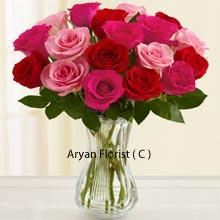 productDelicateness and passion together forms this very attractive bunch of roses. The deep red of the roses, when contrasted with the exquisiteness of the pink roses, they will unveil the emotions that you may have hidden for a long. Seal the day with this bunch of 18 red and pink roses and speak your heart. Let the emotion of love overpower every feeling so you may win her heart. Buy this bunch and consider it a good wish sent from us.