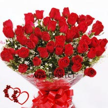 productBeauty of Roses is often appreciated and is mostly presented to the women on her special occasion. So we say the bunch of 40 Red Roses can be fearlessly taken for the tender love of women. It is indeed one of the best ways to show that you care. Thinking of your beloved is one thing, and showing her that you love her, is another. Appreciate her efforts that she does for you and stamp them with these lovely flowers.