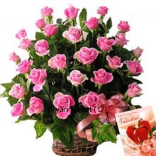 productWith the year flowing with numerous festivals and private occasions like Birthdays, anniversaries, first dates, meeting days, friendship day and many more, pink roses always make their place strong among other choices of gifts. This solidarity can be seen in this basket of 36 pink roses that is decorated nicely and is ready to be delivered for your special occasion. This cohesion among the flowers is visible through their placement where each allows itself to stand with pride. Go ahead and praise this solidarity.