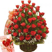 productOnset of this wedding season, you may buy this pretty and royal red roses arrangement that is adorned with a veil, just like that of a bride. Epitomizing sacredness and purity of love, this arrnagement of 50 red roses will take away your heart first and then the receiver's heart as it all rife with beauty. The basket makes it easy to carry and indeed makes it one of the best buy for gifting on a close friend or cousin's marriage.