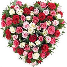 productHeart shaped arrangement that comes in mixed colored Roses that are 75 in number is meant to be sent to those with whom you share a heart to heart connection. This heart shape of the arrangement is figurative of your own heart and hence, the receiver will connect instantly with you, along with strengthening the bond. With variation and variety being the constants in life are allusive to the ups and downs of any relation which must not deter your trust. Buy this now and add smiles!