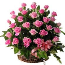productPink Pink! all over when you buy this endearing arrangement of 36 Pink Roses for your love! The color is as mesmerizing as that of the sky, when the sun sets in, depicting its final destination and presenting a simile with your life, when you reach your final love destination with these Pink flowers in your hands! You will be received with love and pleasing gestures. So if it is time that you make your final decision with a ring in hand, you must not delay and stamp your relation with this pink arrangement!