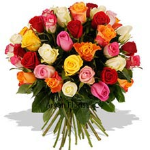 productPampering your wife just like that with this Bunch of 40 Mixed Roses will ascertain your happiness goals! All jokes apart, you will genuinely be showered with your favorite dinner, and lots of love. So please the woman in your life by adding colors that these roses give you aplenty. Go forward before the weekend begins and let the magic of flowers and hues take over. Your partner will feel ecstatic and infinite love will prevail between the two of you.