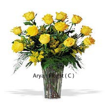 productIf you are friends for life, then stamp your admiration with this pretty looking bunch of 12 yellow roses. This will be in perfect unison with your feelings; the color yellow anyway personifies friendliness. Yellow being the color of the Sun, exude similar energy and positivity. Celebrate our friends birthday, friendship's day or a get together gift with this yellow dozen, placed in a slender that you get with this bunch. Place your order now and see happiness which you always intend for your friend.