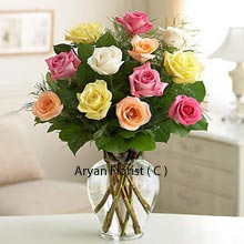 productVariations and variety is the spice of life. So present this lovely various colored roses that are 12 in number to your friend, family, boss, or even a colleague. The variety of colors that are available will set the mood just right and in the party, only you will shine. The vase that you get with this lovely bunch of colorful flowers adds to the grace along with the greens present in the bunch that perfectly contrast the colors of fragrant roses.