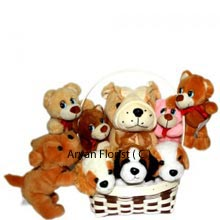 Wonderfully designed for your beloved to get a warm hug from this bunch of soft toys. This Pack offers you 4 Medium Size Teddy Bears and 4 Small Teddy Bears. Best possible gift to celebrate one's birthday, or any memorable day of life. This will make them feel your presence even when you are not near to them. Once presented it will remain as a proof of love and care. Add spark of smile and joy to others lives.(Please Note That We Reserve the Right to Substitute Any Product with a Suitable Product of Equal Value In Case Of Non Availability of a Certain Product)