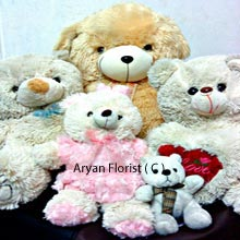 productA whole bunch of small and Big soft toys consisting One 4 Feet Tall Teddy Bear, Two 1.5 Feet Teddy Bears, One Medium Size Teddy Bear, One Small Teddy Bear and One Heart. All that you need for showering love and care to your loved one is here ready for you to get delivered at your doorstep. Surprise with these huge, amazing soft balls and witness their joy that will double when you know the reason is you. (Please Note That We Reserve the Right to Substitute Any Product with a Suitable Product of Equal Value In Case Of Non Availability of a Certain Product)