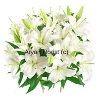 productSo if there is this thirtieth wedding anniversary, retirement party of a colleague.. go for this white bunch of lilies to show your modesty. These events mentioned above reflect different emotions which are way above happiness and project a long sojourn with an eventful place or person. So white is the apt color to symbolize these intangible emotions, juxtaposed with these flowers which are aligned with the right set of feelings. Order these lilies now!