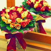 productMake any occasion even more special for your friends with this bunch of 24 mixed coloured roses. Handpicked and put together to create a bountiful arrangement, the bunch includes green leaves to highlight the bright colours of the roses. It is then held together with fancy ribbon. A surprise that your friends will love for sure.