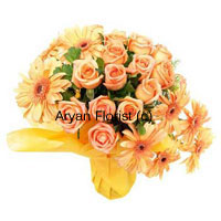 productSurprise your friend with this collection of bright orange blooms. 12 orange roses and 8 orange gerberas are creatively put together to form a bunch along with green leaves. Each of the bloom is placed in a fun manner to create a happy round bunch of flowers. Surprise your friends by sending these flowers on special occasions to make their day even more special.