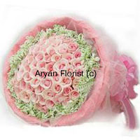 productWhen love is in the air, make it even more visible with this magnificent bunch of 50 pink roses. Wrapped in a beautiful manner with fancy wrapping, fillers are added to the roses to create a heightened effect. Fresh green leaves add to the beauty. The fragrance of the roses is mesmerizing and the overall look of the bouquet is impressively stunning. Let your special one know how much you love him/her.