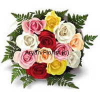 productVibrant and vivid, 12 fresh roses in different colours are put together to create this bouquet. Stems of fern surround fresh yellow, red, white orange and pink blooms. The roses are attractively arranged and held together with fancy wrapping. A classic bouquet, this one is a lovely way to express love, gratitude, and friendship and make someone smile. Sprinkle some water droplets and the roses stay as fresh.