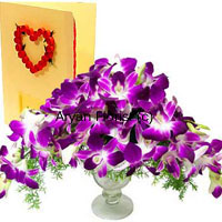 productImagine a bouquet of orchids at your doorstep. What an enchanting surprise! A bunch of purple orchids in a pretty vase along with a greeting card that holds your message, this combination is most suitable for those who stand apart, those with a classy taste. A selection of the best orchids � blooms and buds � this assemblage is embellished with green ferns and fillers. The stylish vase teams up well with the creative arrangement of the orchids. Perfectly oh! so impressive!
