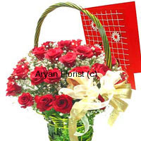 productExpress every emotion, with red roses and a greeting card. 24 hand-gathered fresh red roses are put together with white seasonal blooms and fillers in a gorgeous green basket. Accompanied by a free greeting card that holds your message, this basket with a sassy golden satin bow is sure to light up everyone's eyes. Easy to carry with the handle of the basket, light in weight, it's elegant design will match with every taste.