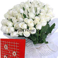 productPure, calm and serene, white roses never fail to express beauty. This basket of 100 white roses comes with a complimentary greeting card to add your message. Handpicked by expert florists and carefully put together in our studio, this basket oozes of freshness of the white and greens of the leaves. Wrapped up with fancy wrapping, that adds to the elegance of the roses.