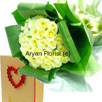 productBright like sunshine, this bunch of 50 yellow roses is carefully arranged amidst large green leaves. It comes with a complimentary greeting card to carry your message. The bouquet is medium in size, which makes it easy to carry and to display. Gift it on birthdays or anniversaries; this bunch spreads sunshine all around. For those who love fun and frolic and all things bright.