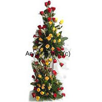 A stylish 4 feet tall arrangement of 125 red and 125 yellow roses is something that will leave everyone awestruck. The yellows and reds pop up in the fine arrangement of green leaves and fillers. The roses are arranged in a manner that their beauty can be seen from all sides of the arrangement. Place it on the floor in a corner and it will turn into the sweetest smelling corner. Impress your loved ones with these roses.