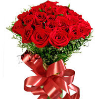 productWhy gift a dozen when there's a bouquet made especially with two-dozen red roses! Fresh bright red roses oozing of romance are held together with a bright red satin ribbon bow. Green ferns and leaves surround the red roses creating a neat appearance. The freshness of ferns and roses merges to spread sweet moist smell. This one is a favourite for anniversaries, engagements and weddings.