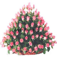 productA basket of 150 pink roses � some in full bloom, some buds � this bouquet is designed in a creative and unusual fashion. Towering in a conical shape, each pink rose is arranged in a manner that it can be clearly seen. Ample of green leaves give it a lush and splendid look. The basket in a flat shape is specially chosen to suit this arrangement. Surprise and delight with these 150 fresh pink roses!