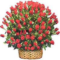 productThis one was specially created for those who believe that size does matter. A huge basket of 200 red roses, this design is for those who enjoy extravagance. Because just one, two or a hundred roses aren't enough, we put together a large basket full of 200 roses. The cane basket is sturdy and firm and the shape adds to the beautiful appearance of the roses. The roses are punctuated with green leaves all over and such that each of the 200 roses is highlighted.