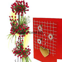 productThis fancy arrangement is four feet tall and is made up of 400 red roses. Shower all your love with 400 fresh red roses. Created in a beautiful layered arrangement, special care is taken about it's sturdiness and looks at the same time. It looks modern and striking at the same time. Fillers and decorative wrappers and frills, all along with 400 red roses and green leaves is something that marvels.