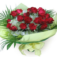 productLending 12 red roses a dramatic update, this bouquet is created with fresh red roses, green leaves, ferns and fillers and fancy wrapping. The arrangement is crafted to look unique and eccentric. It is medium in size, easy to carry and something that you do not get to see every time. Apt for all occasions, may it be a promotion, an engagement party or a birthday bash.