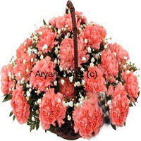 Basket of 24 Pink Carnations with Seasonal Fillers