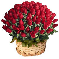 Basket Of 100 Red Colored Roses With Seasonal Fillers