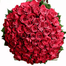 A sparkling bouquet of a 100 red roses, this will surely spark love. Our expert florists handpick 100 red roses; place them creatively to form a bountiful round bouquet. When placed on a tabletop, it becomes the center of attraction. Mesmerizing in beauty and fragrance, this one makes a lasting impression on your loved one!