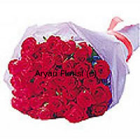 productThis bouquet of 24 red roses is specially created for congratulatory occasions. Bunched together in a beautiful manner and wrapped with fancy sheet, this abundant arrangement smells sweet and fresh. Arrange it creatively in a glass vase on a tabletop and it looks stunning and attractive. Send it on occasions such as anniversary, promotion, house warming and more.