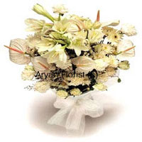 productThis classic bunch of white lilies, White Anthuriums, White roses and white carnations make this bunch the most sought after to gift it to the elderly in the house. So to shower your love towards your grandmother or grandfather. They will cherish this beautiful tranquil bunch forever and you will be blessed with their ceaseless blessings. You may also order these royal flowers to your mother or father on their special day. Order Now!
