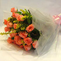 productSay it with orange roses! This bunch of 18 orange roses is designed with love and care by our expert florists. Each rose is handpicked, delicately placed in the bunch and seasonal fillers are added to make the bunch look more stunning. Wrapped with fancy sheet all around and held together with a ribbon bow, the arrangement looks fresh, fun and beautiful. Send it to express your love to your spouse on your anniversary and make the day even more special.