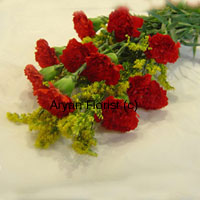 productWhat's the colour of love? Red. This bunch of 10 red carnations put together in an elegant manner with green leaves and fillers make for a lovely way to express wishes on anniversaries. The carnations are fresh and handpicked by our expert florists, put together with love, to convey the message of love. Order this one and make it a special day!