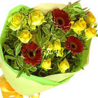 productYellow is the color depicting the intensity of friendship. To enhance the gravity of your relationship, you must buy this bunch of ten yellow roses that comes with three red gerberas. For a true reflection of maturity in friendship where words like 'sorry' and 'thank you' do not mean anything, these flower will say it all. Go for this pretty bunch and dare to be yourself in front of your friend, who any way knows you best. Order these now!