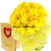 productTo get rid of soliloquies where you contemplate questions like ' say or not to say', present this sunshine bouquet of eighteen yellow gerberas with a love greeting card. This will help you come out of the dilemma and you will be celebrating the success of a new beginning in your life. The love greeting that comes free with this can be used to celebrate the success thereafter. So place your order now and taste success!