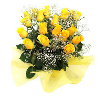 productBright like sunshine, this bouquet of two-dozen yellow roses is sure to spread happiness and joy. Fillers and green leaves punctuate the arrangement as the roses pop up randomly creating a fun vibe. Fancy wrapping to match the colour of the flowers creates an added vitality. Send these flowers on anniversaries and make life brighter.