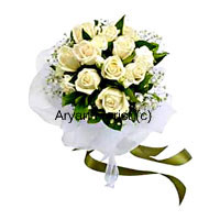 productThe most beautiful white rose blooms have been handpicked to create this bouquet that oozes elegance. 12 white roses come together to create a serene arrangement along with fresh bouncy seasonal fillers and green leaves. Wrapped around with beautiful white wrapping and satin bows, this one makes for a perfect gift for friends and business associates. It sits pretty in glass and ceramic vases on any tabletop.