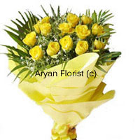 productSuch a bright idea! This bunch of 15 yellow roses is naturally arranged along with fillers and leaves and covered with fancy wrapping to match the roses. Each of the flowers is handpicked and delicately placed in the bunch. A small gesture that will surely make your friend feel special.