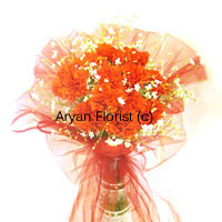 productCovered in a beautiful veil, these twelve orange carnations are just like the bride behind the veil, shy yet enthusiastic. Present these beautiful, coy orange flowers put together in a vase, to your bride to be and the love in her eyes will melt your heart. You may also give it to a couple on their wedding as it complements the event and has that special feel to itself that everyone relates to. So place your order now to get it at your doorstep.