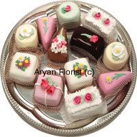 productThis heterogeneous display of attractive pastries will fulfill the palate of everyone present for the get together. This will make the get together special for all the people present. The fights for 'I want pink' and 'I want brown' will make you recall your childhood days. For a large group you may order more than one and be assured that you have made the right choice for the multifarious taste of children and adults.