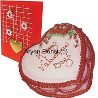 1 Kg (2.2 Lbs) Heart Shaped Strawberry Cake